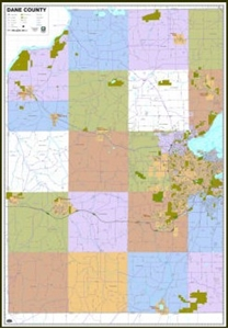Picture of Dane County West and Madison Wisconsin Wall Map