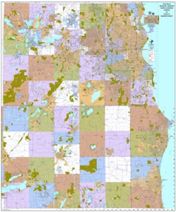 Picture of Milwaukee, Waukesha, Racine and Kenosha Counties Wisconsin Wall Map