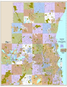 Picture of Milwaukee County, Waukesha County, Washington County & Ozaukee County Wisconsin Wall Map