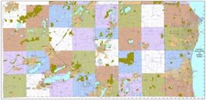 Picture of Racine, Kenosha and Walworth Counties Wisconsin Wall Map