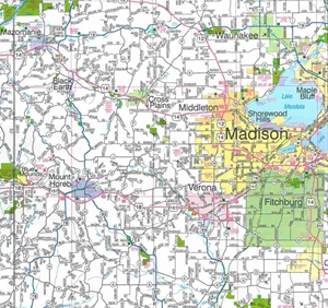 Themapstore Southwestern Wisconsin Road Map