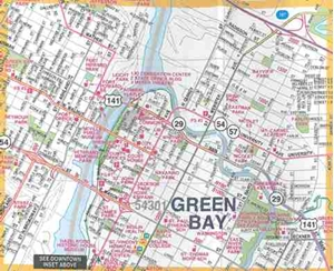 Picture of Green Bay and Brown County Wisconsin Folded Street Map