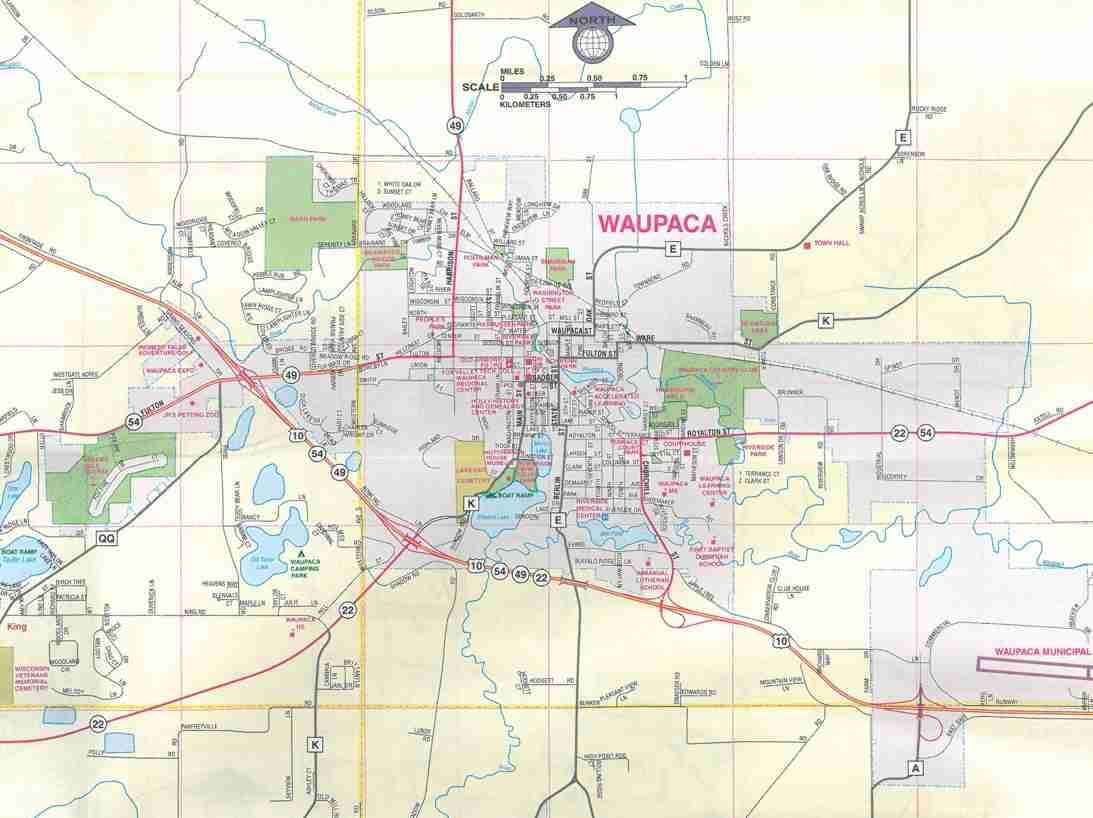 Themapstore Waupaca Waupaca County Clintonville Fremont