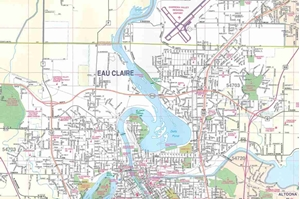 Picture of Eau Claire, Chippewa Falls & Menomonie Wisconsin Folded Street Map