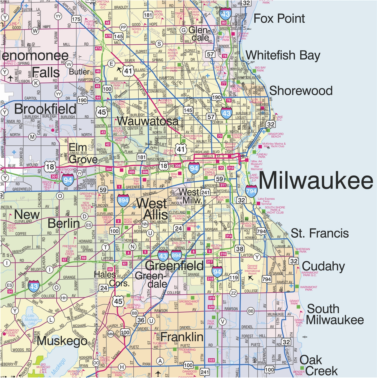 TheMapStore  Southeastern Wisconsin Highway Wall Map