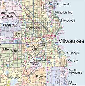 TheMapStore Southeastern Wisconsin Highway Wall Map - Area code wisconsin map