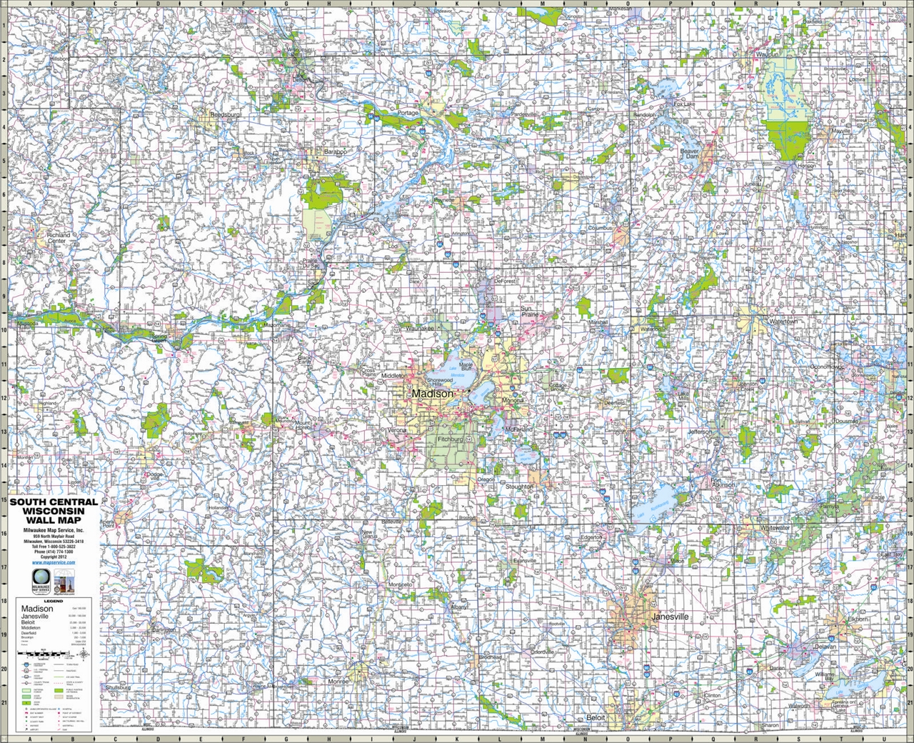 TheMapStore  South Central Wisconsin Highway Wall Map