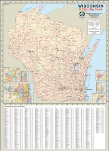 Picture of Wisconsin State Zip Code Wall Map