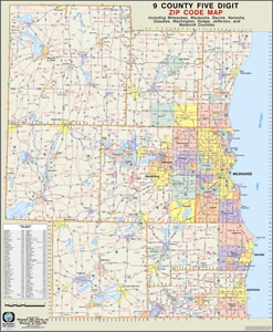 Themapstore Southeastern Wisconsin 9 County Zip Code Wall Map