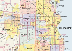 Picture of Southeastern Wisconsin 9 County Zip Code Wall Map