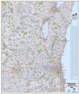 TheMapStore Southeastern Wisconsin Sectional Digit Zip Code - Wisconsin area code map