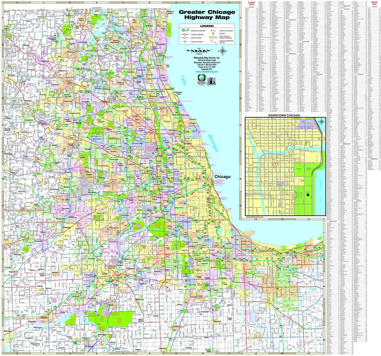Wall maps counties amp cities greater chicago highway wall map