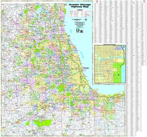 TheMapStore | Greater Chicago Highway Wall Map on