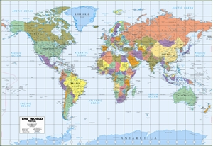 Themapstore world wall map political picture of milwaukee map service world wall map blue ocean style gumiabroncs Choice Image
