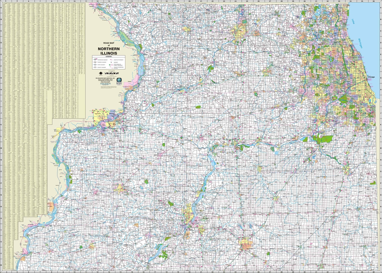 Themapstore Northern Illinois Highway Wall Map