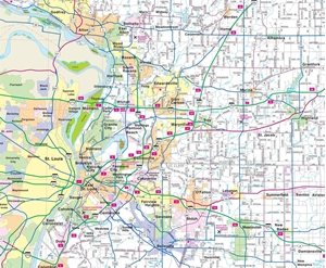 TheMapStore Southern Illinois Highway Wall Map