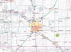 TheMapStore | Central Illinois Highway Wall Map