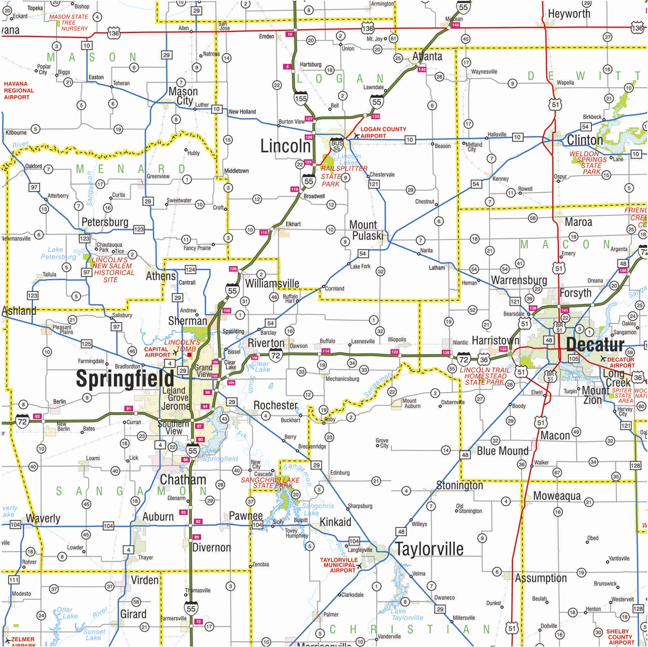 TheMapStore  Illinois State Highway Wall Map