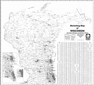 Picture of Wisconsin, Northern Illinois & Michigan U.P. State Marketing Map