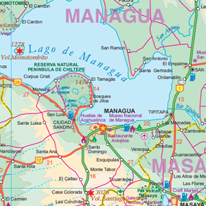 TheMapStore | Nicaragua & El Salvador Travel Map