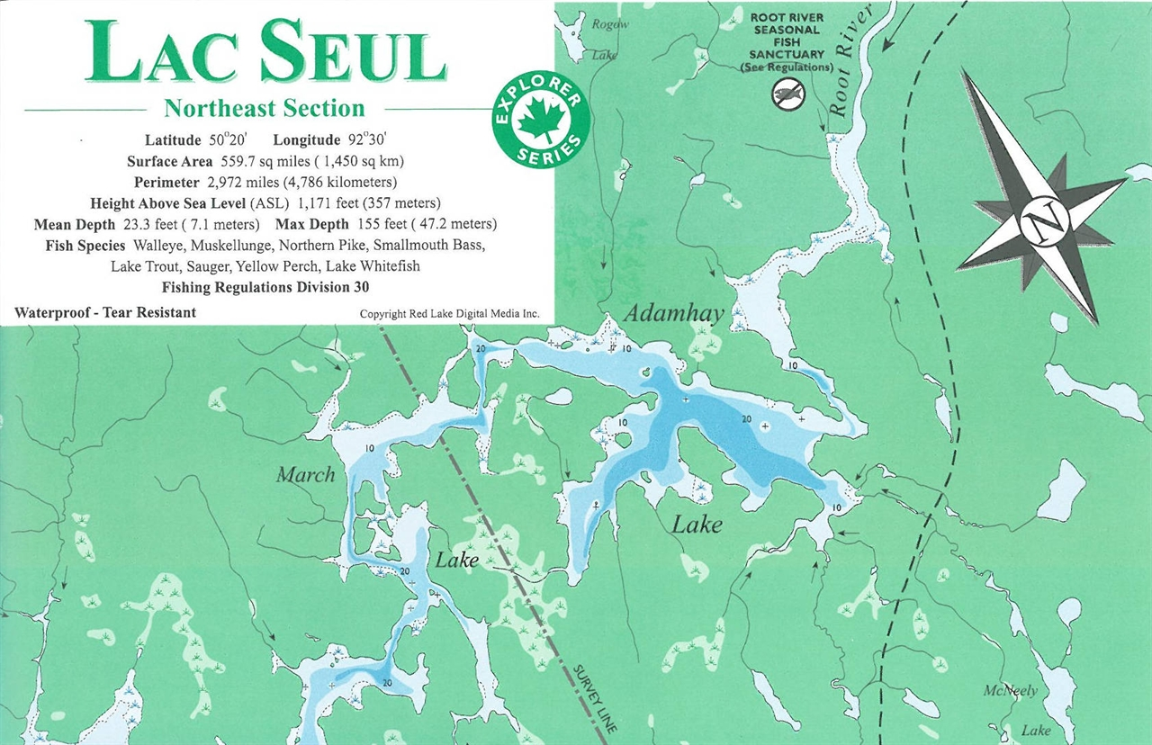 Themapstore Lac Seul Northeast Sectioncanada Lake Map