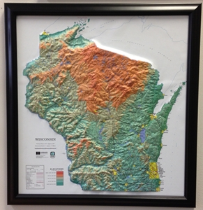 TheMapStore Wisconsin Raised Relief Map - Arkansas relief map