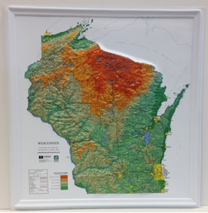 TheMapStore Wisconsin Raised Relief Map - Us topo relief map