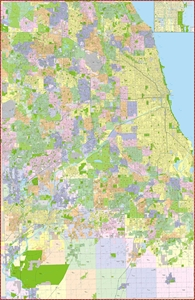 Picture of Cook County Chicago Illinois Wall Map