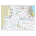 """Picture of Northern Illinois Highway Wall Map SIZE 62"""" x 48"""""""
