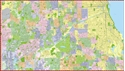 """Picture of Chicago Central Wall Map SIZE: 72"""" x 41"""""""