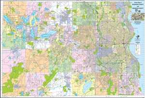 Picture of Milwaukee County & Waukesha County Wisconsin Street Wall Map (2016 Edition)