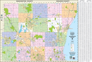 Picture of Ozaukee County & Washington County Street Wall Map