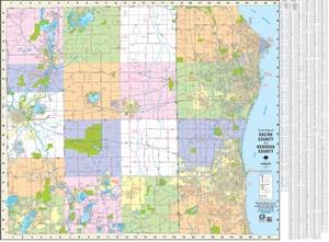 Picture of Racine County & Kenosha County Street Wall Map