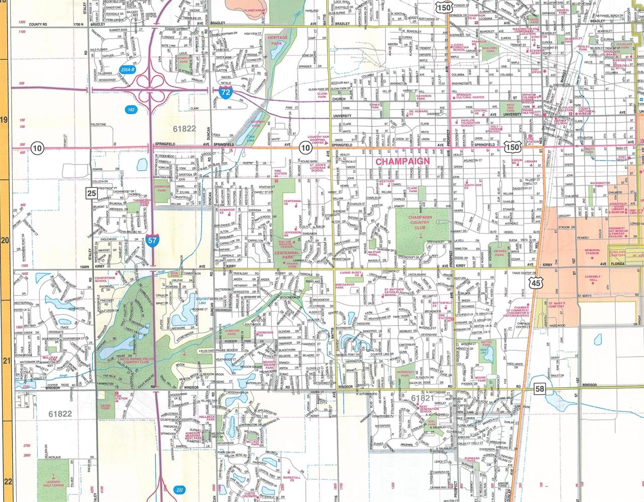 TheMapStore  Champaign Urbana Amp Danville Illinois Street Map