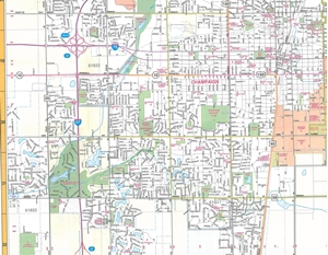 Picture of Champaign, Urbana & Danville, Illinois Folded Street Map