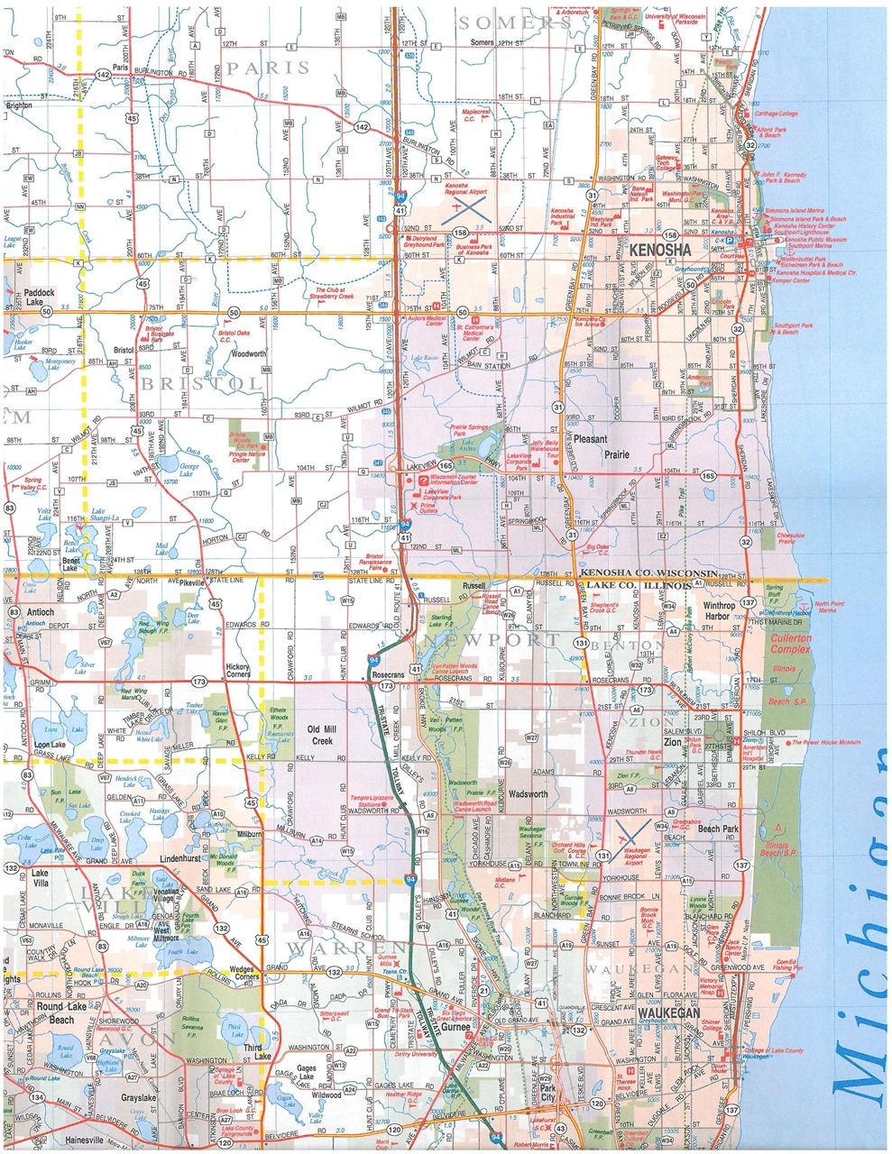 TheMapStore  Chicago Milwaukee I94 Corridor Map