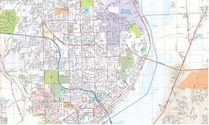 Picture of Peoria, Illinois Folded City Street Map