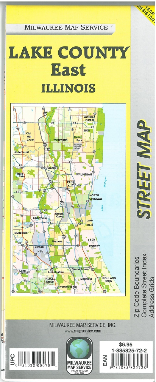 TheMapStore  Lake County East Illinois Street MapChicago
