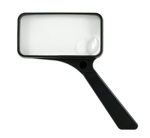 "Picture of 2"" x 4"" Rectangular Non-Lighted Handheld Magnifier 2X Lens With a 6X Bifocal"