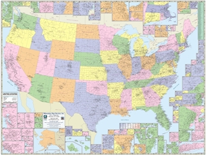 "Picture of United States County & Town Map 63"" x 48"""