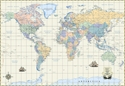 """Picture of Milwaukee Map Service World Wall Map - Antique Style - Size 48"""" x 34"""" - (MM4200)"""