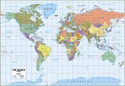 """Picture of Milwaukee Map Service World Wall Map - Blue Ocean Style - Size 29"""" x 21"""" - (MM2000)"""