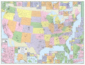 "Picture of United States County & Town Map 52"" x 40"""