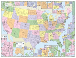 "Picture of United States County & Town Map 40"" x 31"""
