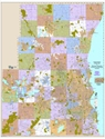 "Picture of Milwaukee County, Waukesha County, Washington County & Ozaukee County Wisconsin Wall Map SIZE: 48"" x 62"""