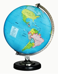 "Picture of Day/Night Illuminated 12"" World Globe"