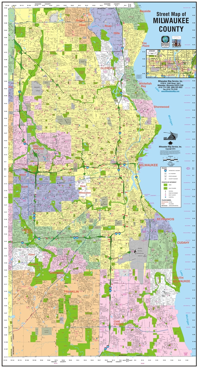 TheMapStore | Milwaukee County Wisconsin Wall Map (2016 Edition)