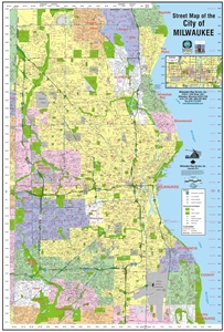 Picture of City of Milwaukee Wisconsin Street Wall Map