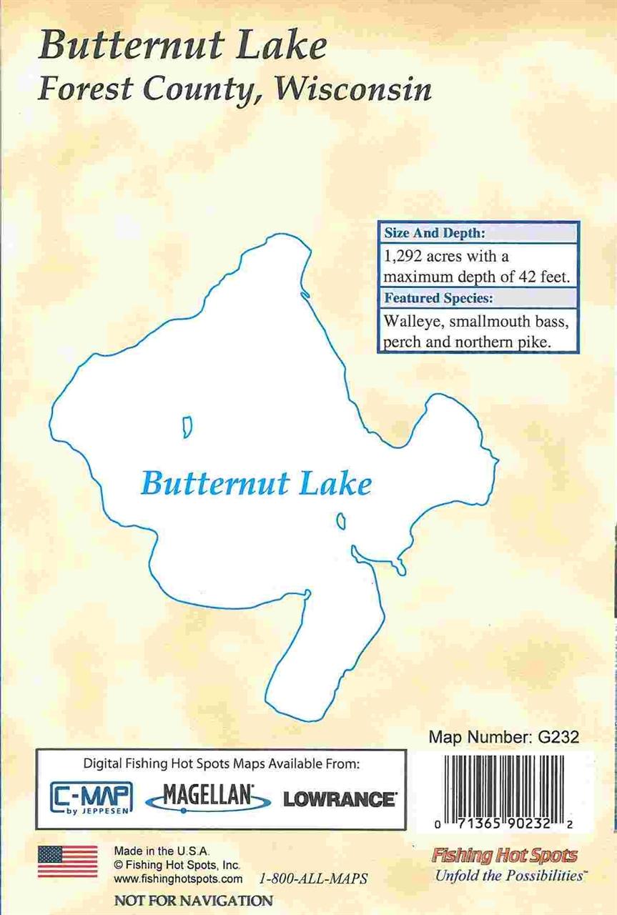 Themapstore butternut lake fishing hot spots map for Fishing hot spots