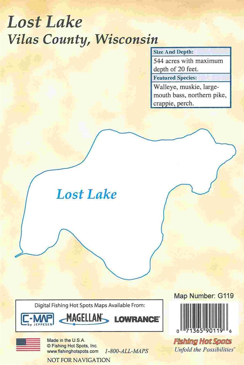 Themapstore lost lake fishing hot spots map for Fishing hot spots maps